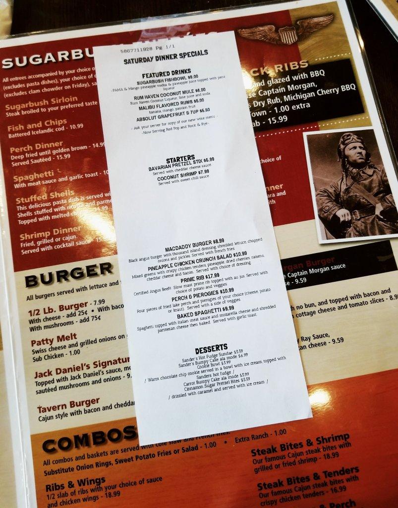 Sugarbush Tavern Saturday Dinner Specials