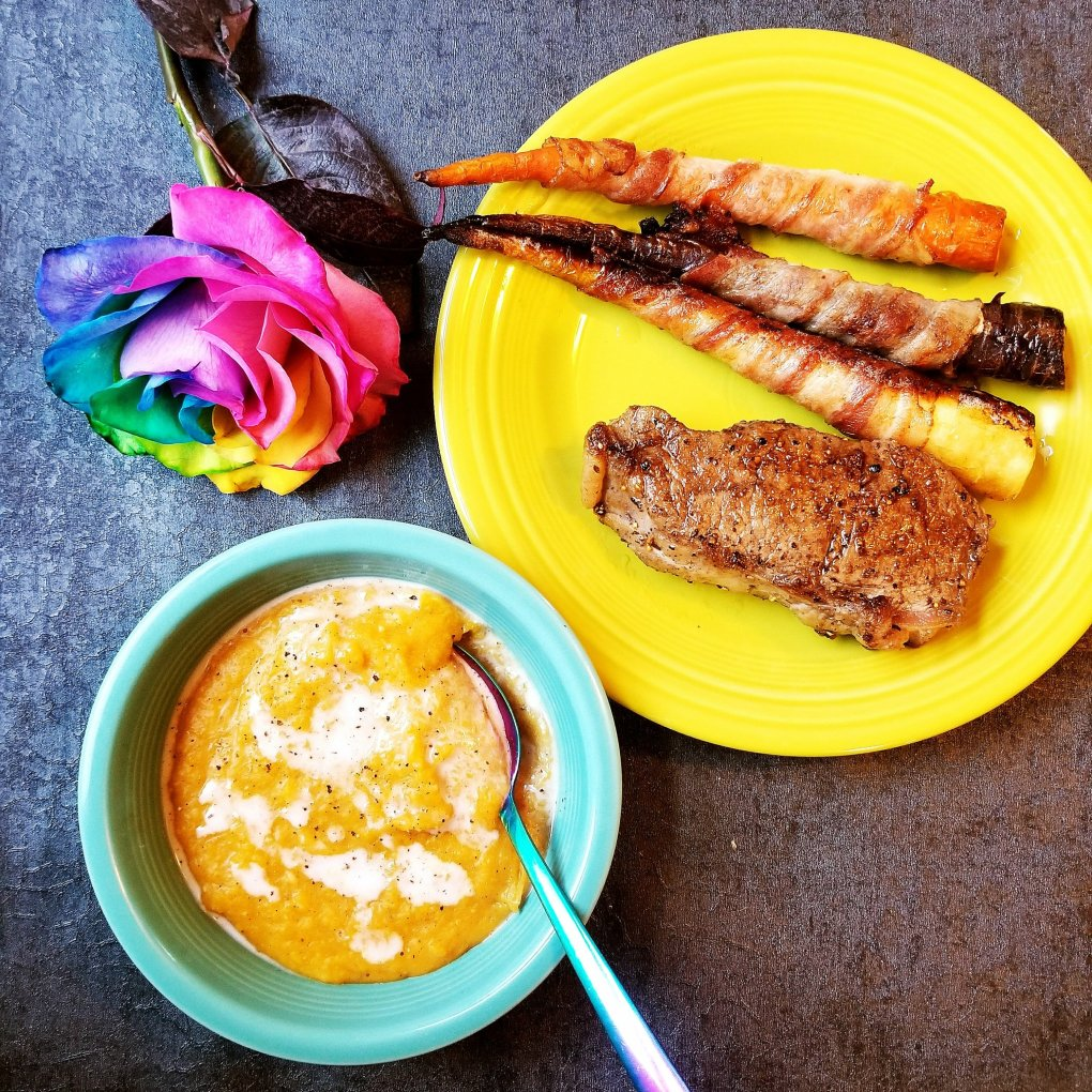 Sunday Dinner - With Primal Kitchen Strip Steak, Applegate Bacon-Wrapped Rainbow Carrots, And Paleo Butternut Squash Soup