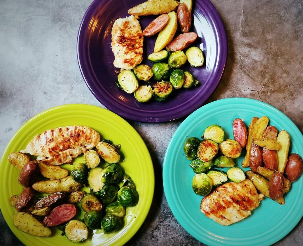 Primal Kitchen Honey Mustard With Roasted Brussels Sprouts & Air-Fryer Fingerling Potatoes