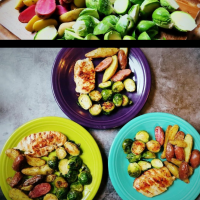 Primal Kitchen Honey Mustard Chicken With Roasted Brussels Sprouts & Air-Fryer Fingerling Potatoes