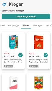 Offers area on the Ibotta app. Select which offers you are interested in earning cashback on.