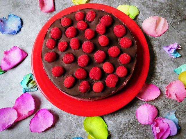 Vegan Dark Chocolate Raspberry Cheesecake