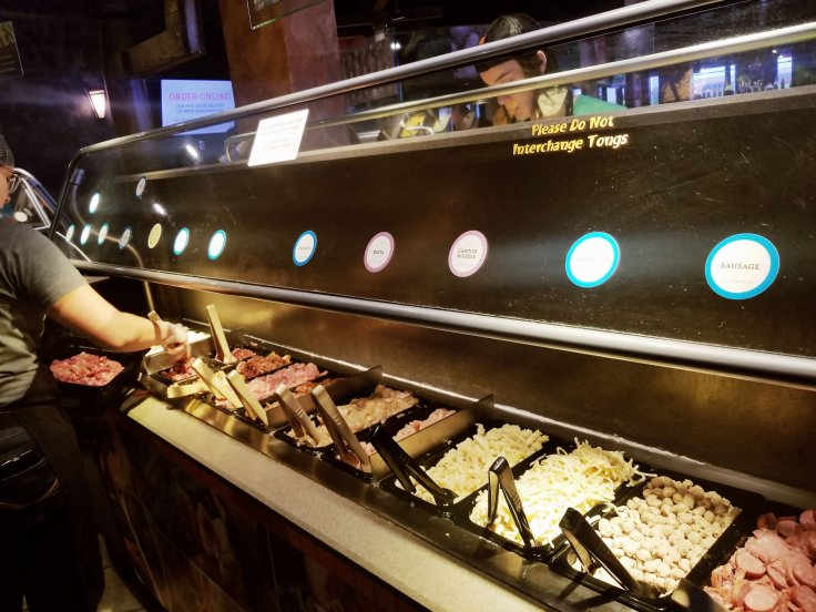 BD's Mongolian Grill meats section of the serve-yourself stir-fry bar