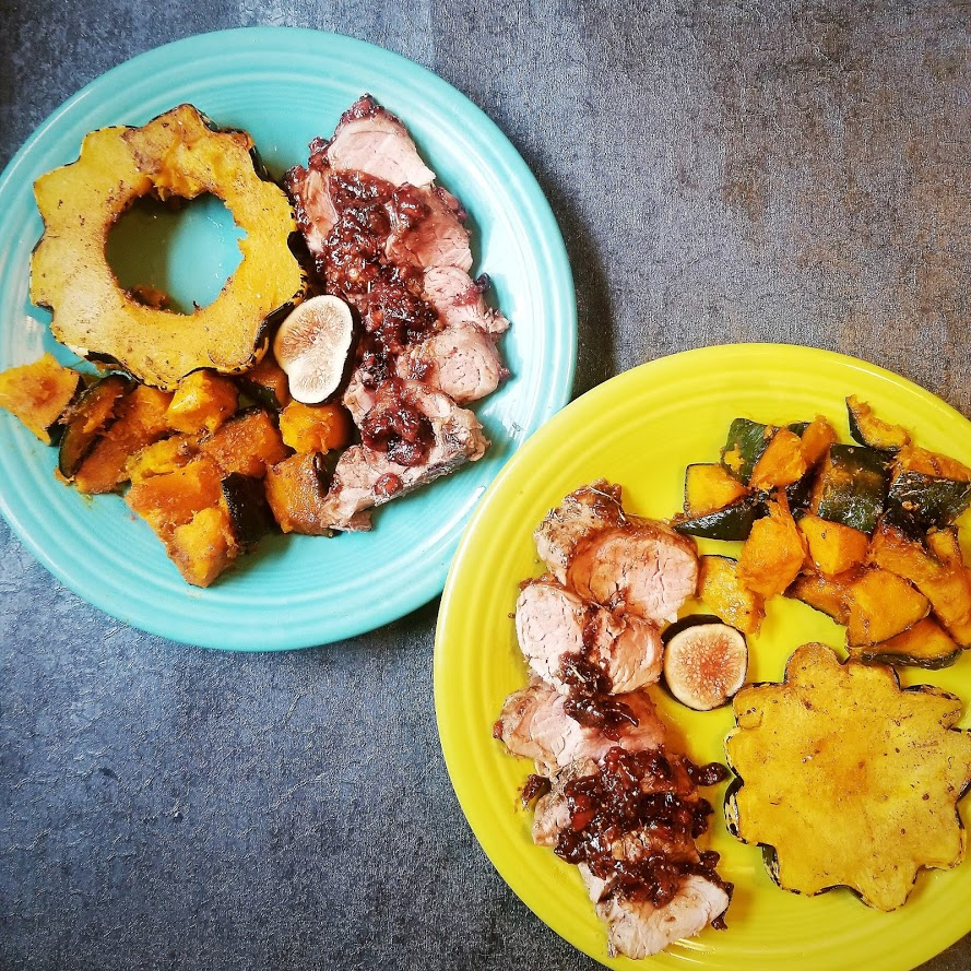 Balsamic Fig Pork Tenderloin with Maple Buttercup Squash and Vanilla Dumpling Squash