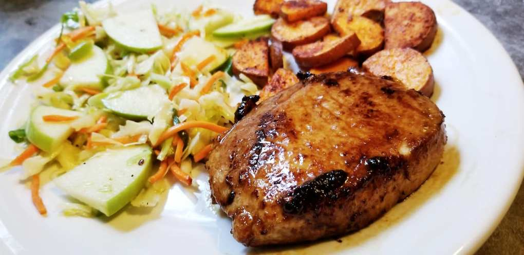 Orange Chipotle Glazed Pork w/ Apple Slaw and Roasted Sweet Potato (Sun Basket)