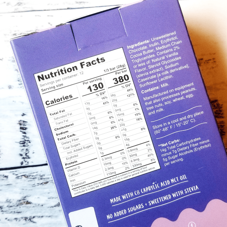 Kiss My Keto Chocolate Bar nutrition facts