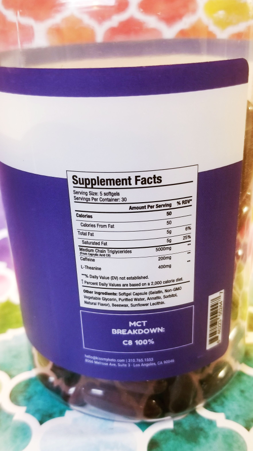 Kiss My Keto Energy Supplement Nutrition Facts