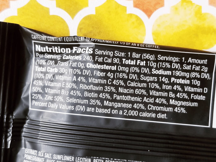 Nutrition Facts for Redd Bar Peanut Butter Flavor