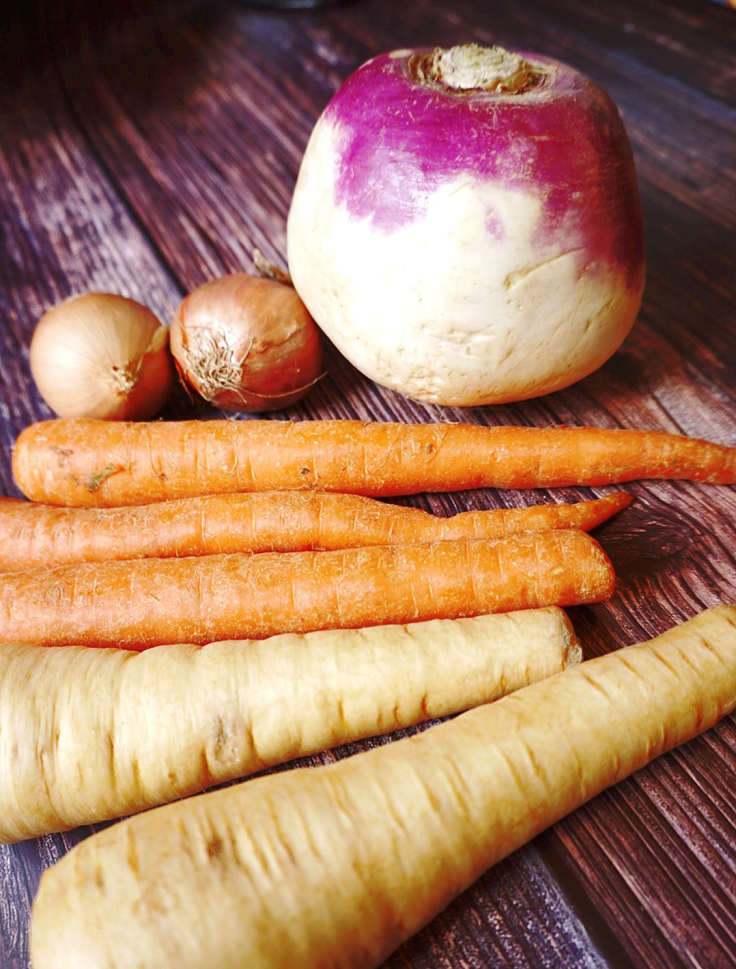 Root vegetables in my paleo pot roast