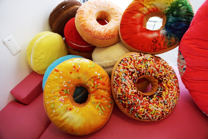 Donut pillows at Daddy's Doughnuts