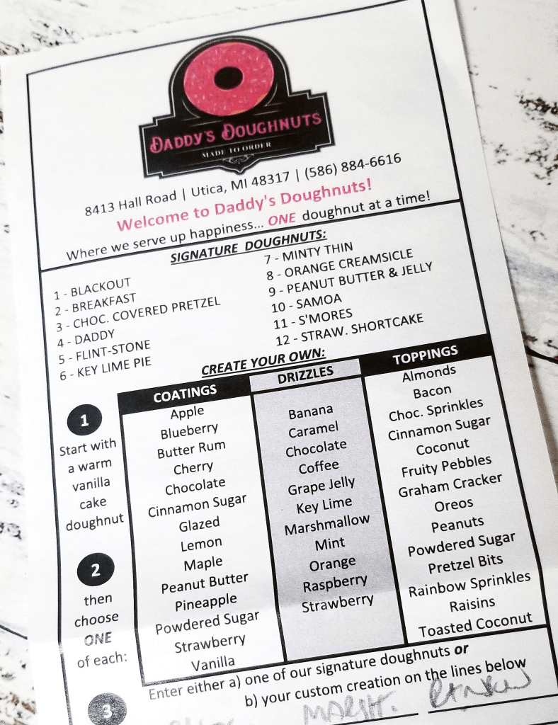 Menu card at Daddy's Doughnuts - Create your very own donut!