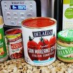Pasta sauce ingredients for mozzarella stuffed meatballs RECIPE