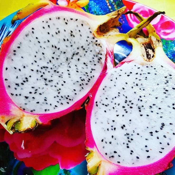 Dragon fruit can have either a white center or pink center. You never know until you slice it!