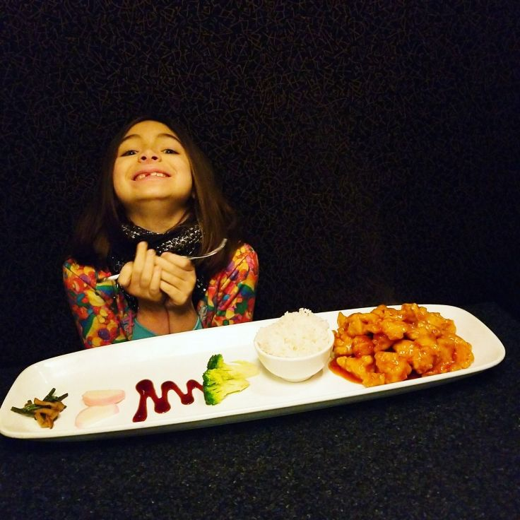 And just for fun! Here is a photo of my daughter, Chloe Pear, with her chicken teriyaki dinner at Inyo Ferndale