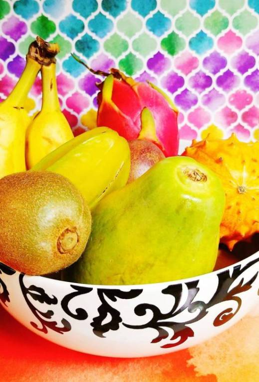 A bowl of exotic fruits