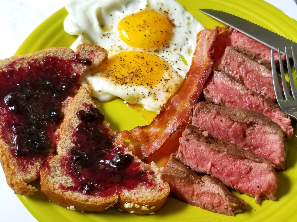 Steak & eggs served with ButcherBox flat iron steak