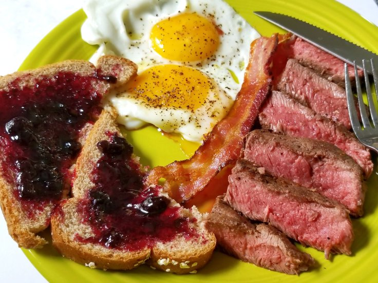 Steak & eggs served with ButcherBox flat iron steak