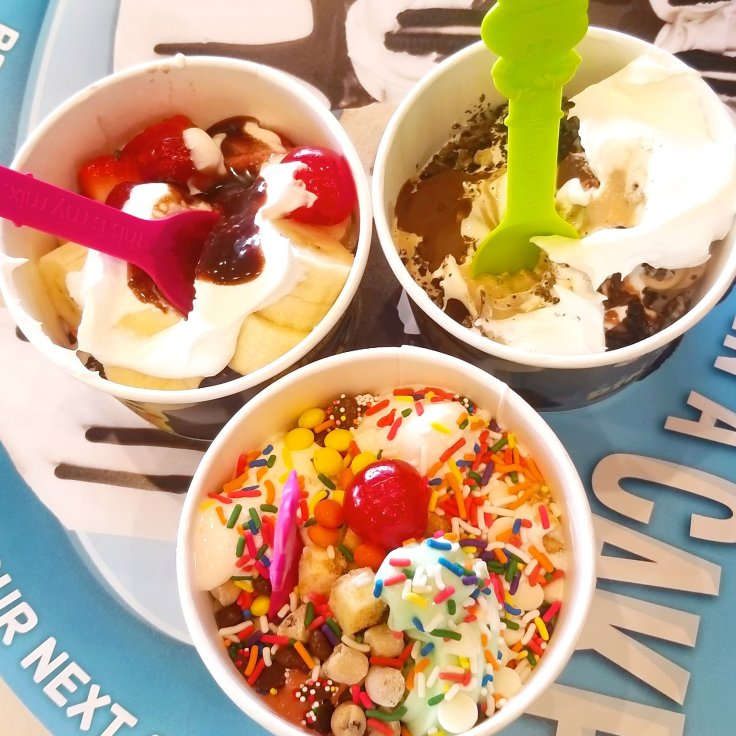 3 happy little tubs of Menchie's frozen yogurt that we got with our Menchie's Groupon