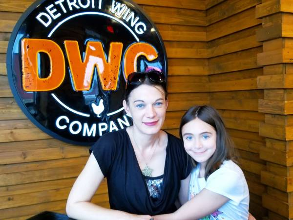 Me and my daughter Chloe at Detroit Wing Company