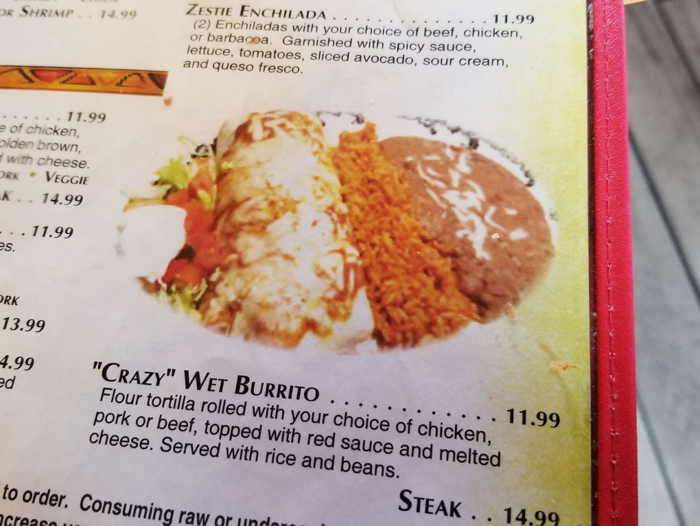 Here is what I ordered! A Wet Burrito filled with shredded pork - Crazy Gringo Clinton Township Menu