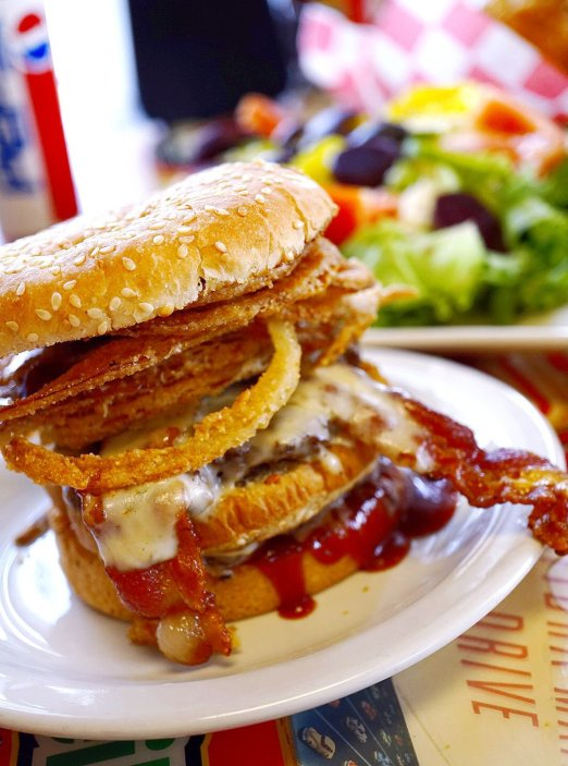 The Phat Gratiot Burger as Seeburger's Cheeseburgers is gigantic