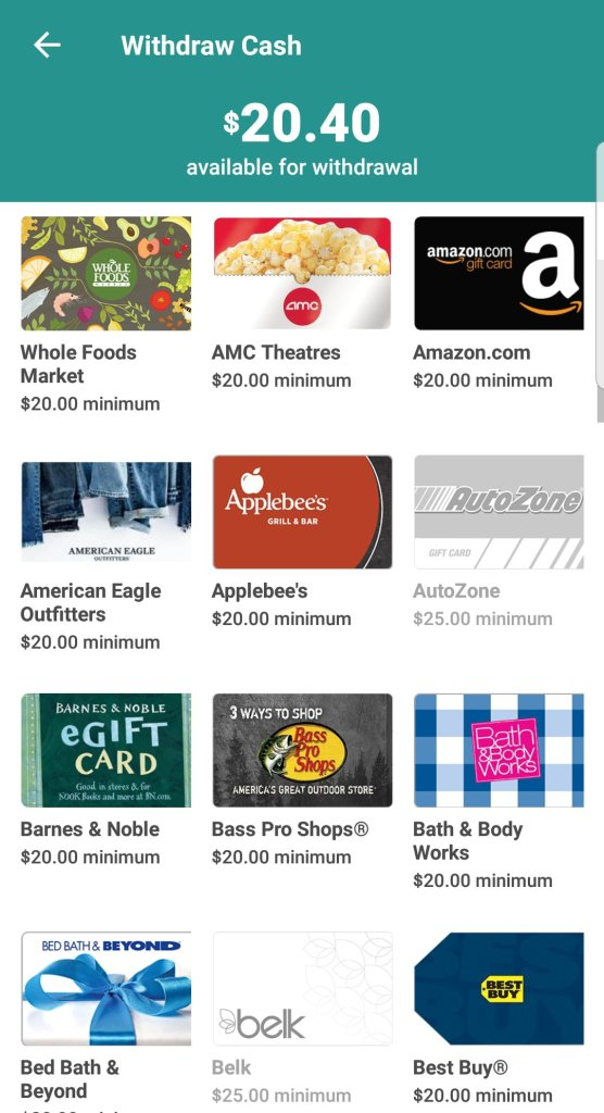 Just a small sampling of the gift cards you can earn with the cashback shopping mobile app Ibotta