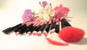 pink make-up brushes side view