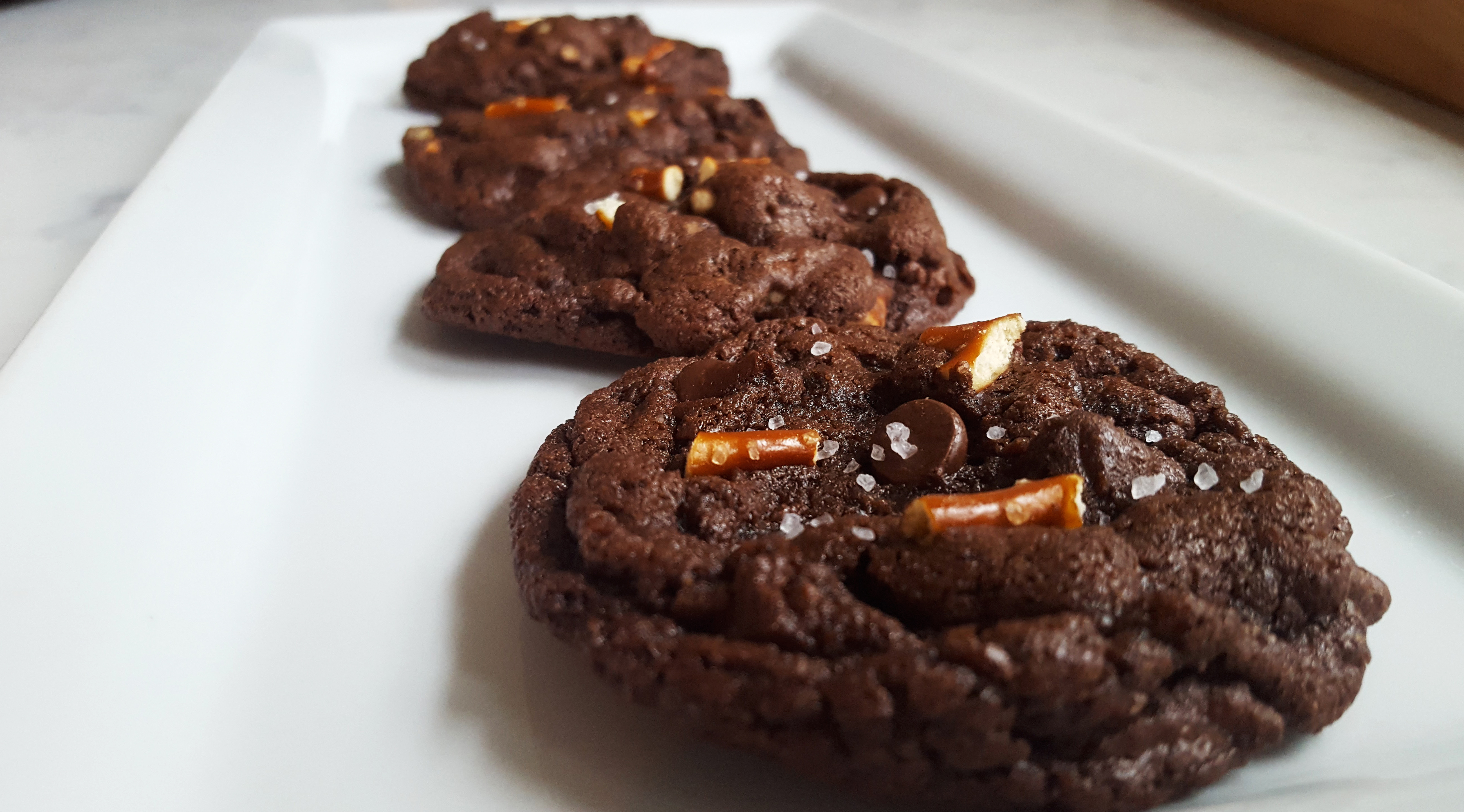chocolate cookies with pretzels and sea salt
