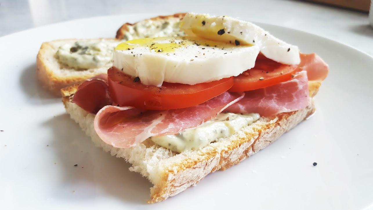 prosciutto sandwich with lemon pesto mayo