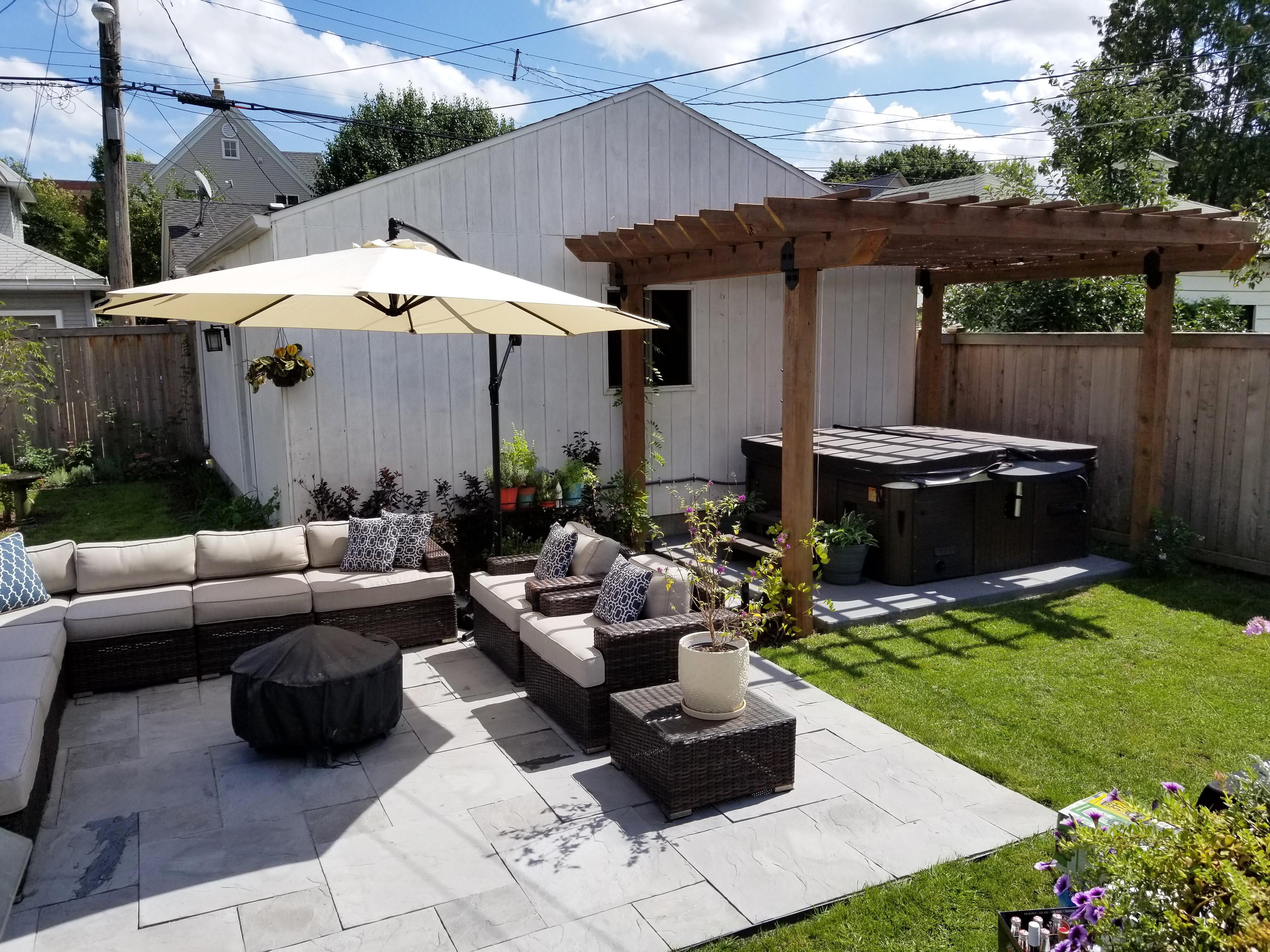 backyard remodel – patio, pergola, flowers + bumblebees!
