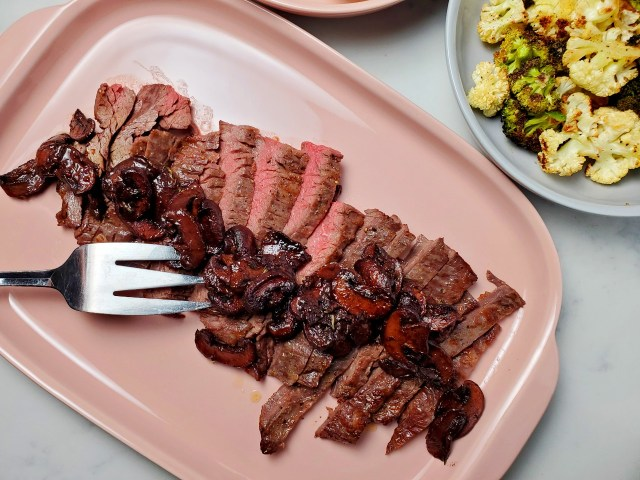 Flat Iron Steak with Pinot Noir Mushrooms and Herbs