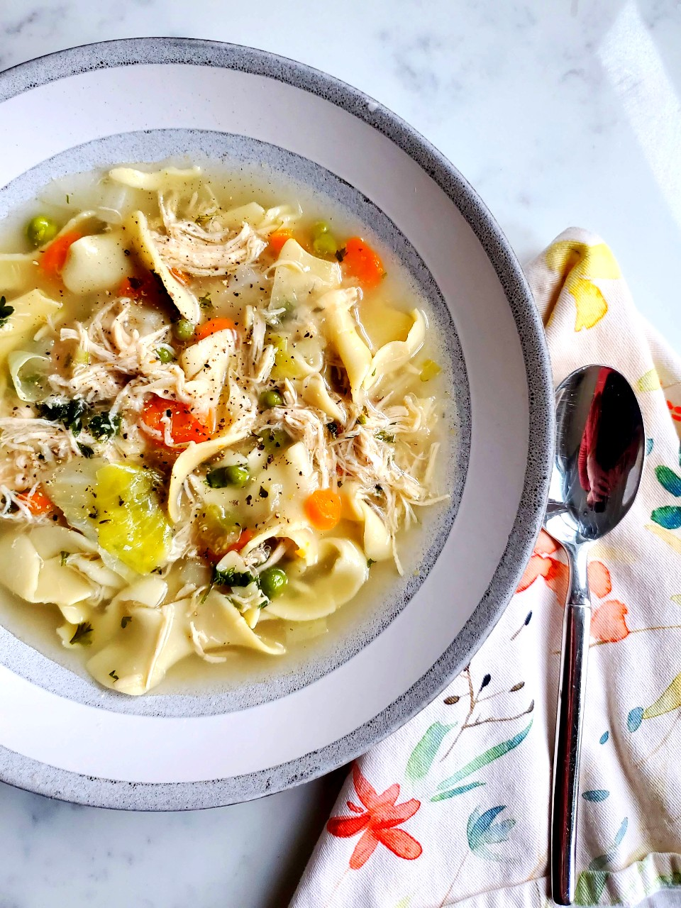chicken, cabbage + noodle soup