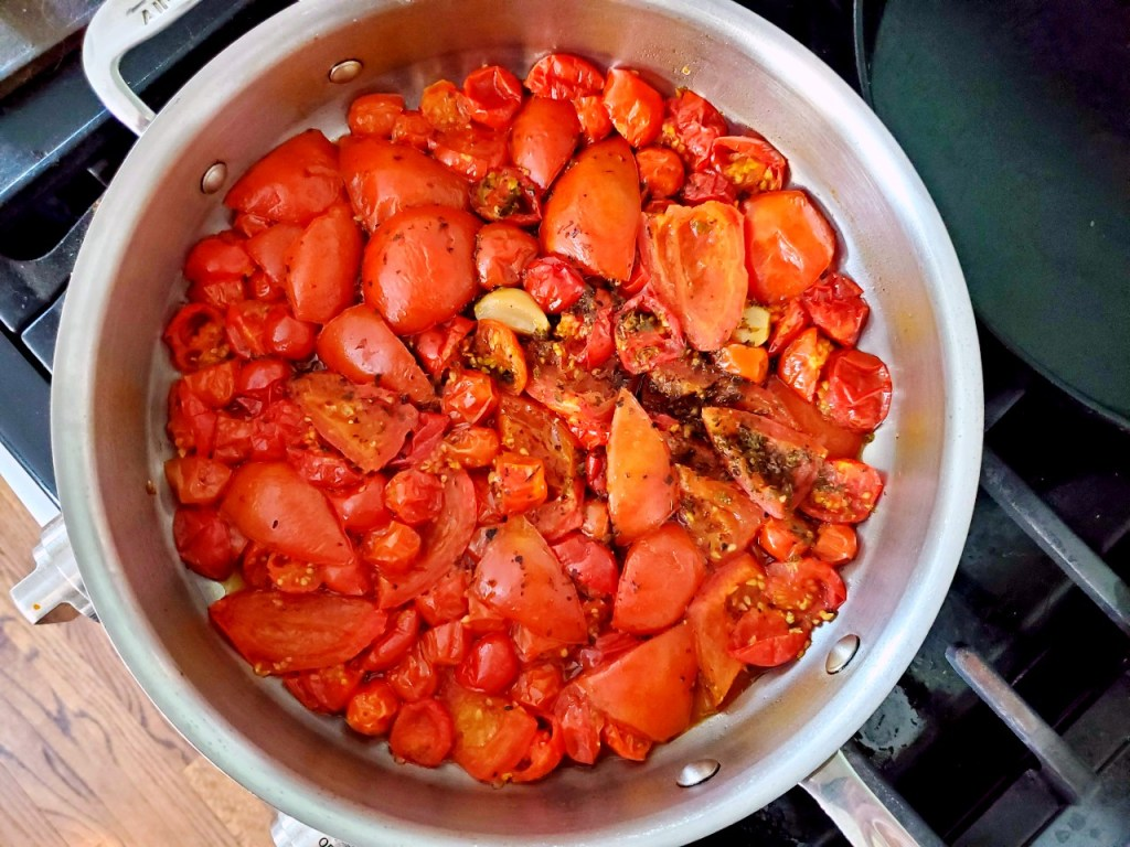 Fresh tomatoes roasted and out of the oven ready to become pizza sauce.