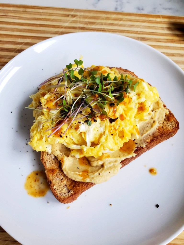Spicy Eggs on Toast with Fresh Sprouts