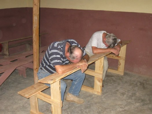 First complete bench, Joe and Bill resting and praying