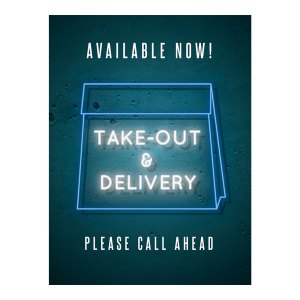 Takeout and delivery sign -Blue