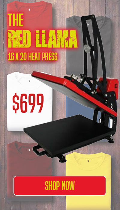 The Red llama 16 x 20 heat press