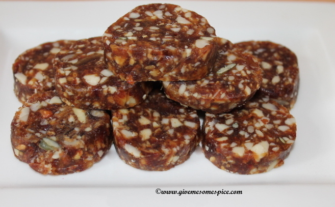 Nuts, dates and Omega 4 Seed mix rolls