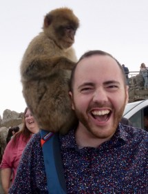 Me with a Barbary macaque