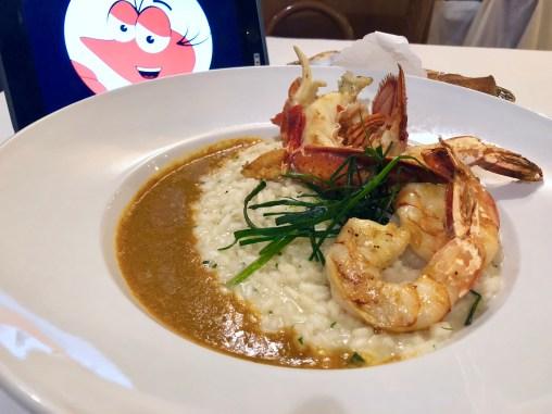 Homard et Crevettes Rötis à la Minute, Risotto aux Herbes Pommes Sauce Américaine (3.5): lobster and prawns risotto, shell fish sauce - exquisite flavors ...