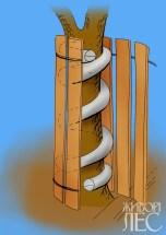 Защита ствола досками и шиной