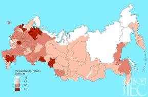 Рис.1 Интенсивность гибели лесов от погодных факторов