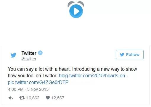 Twitter sostituisce le stelline con i cuori