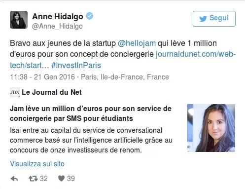 Twitt del sindaco di Parigi