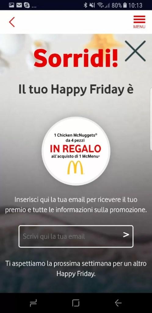 vodafone happy friday McDonald's