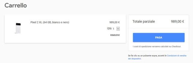Google Pixel 2 XL Italia prezzo acquistare