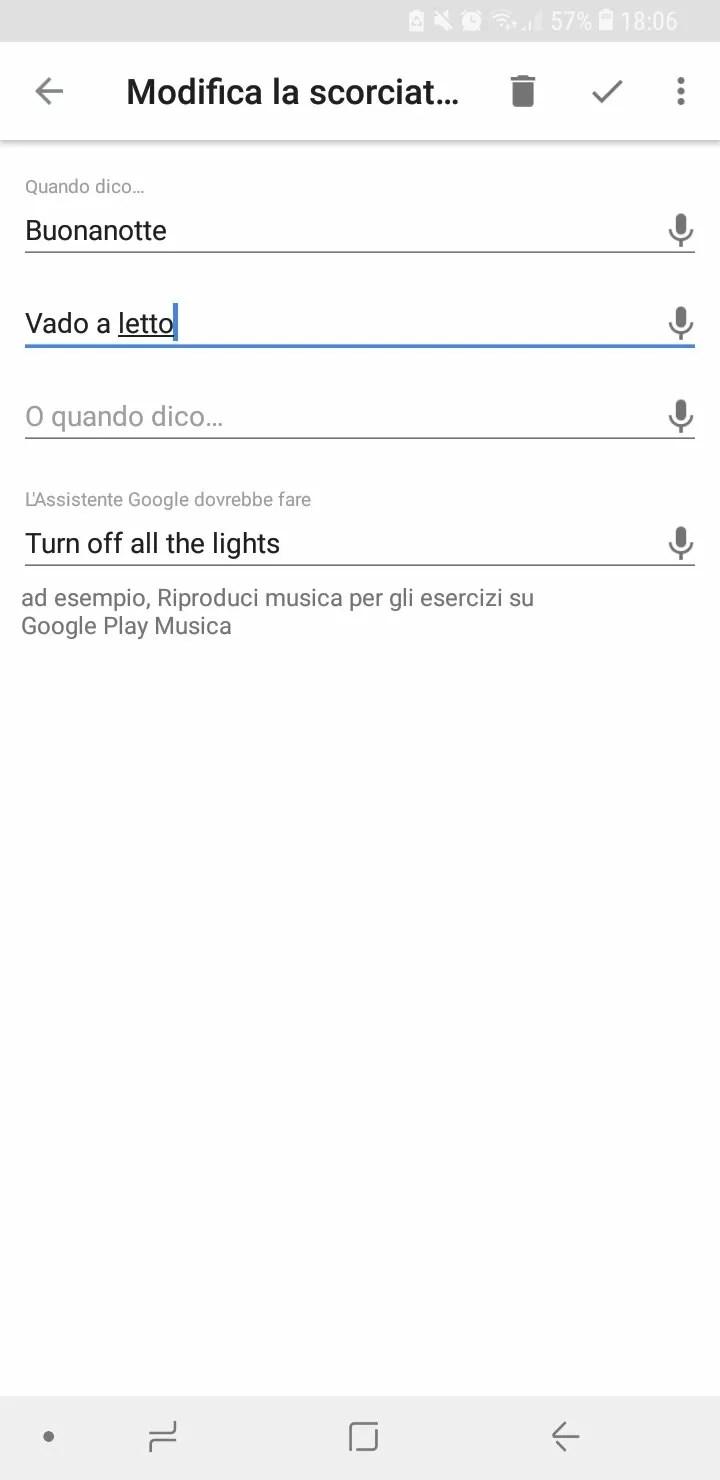 Google Home Assistente Scorciatoie