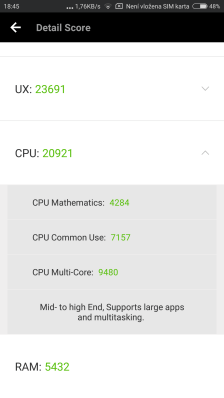 Výsledky Antutu odpovídají hodnotám u Xiaomi A1