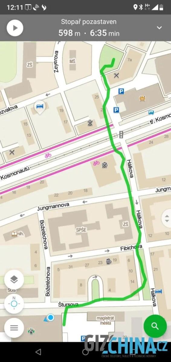 Trasu GPS zaznamenává přesně