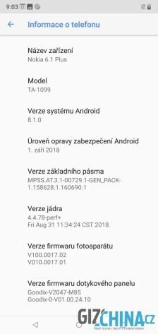 V systému se telefon hlásí jako model 6.1 Plus